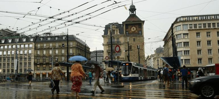 Geneve sous la pluie